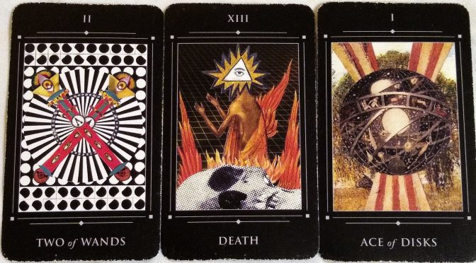 Red Magician: Two of Wands, Death [XIII], & Ace of Disks.