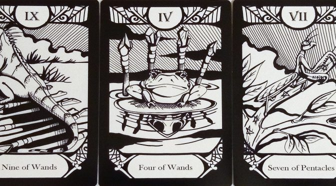 Animalis Os Fortuna: Nine of Wands, Four of Wands, & Seven of Pentacles.