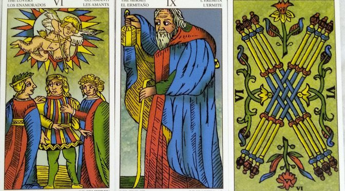 Universal Tarot of Marseille: The Lovers [VI], The Hermit [IX], & 6 Batons.