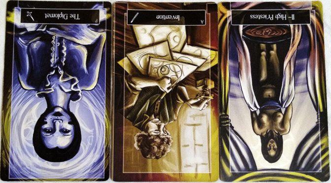 Sweeney Tarot: Page of Swords (reversed), Ace of Wands (reversed), & The High Priestess [II] (reversed).