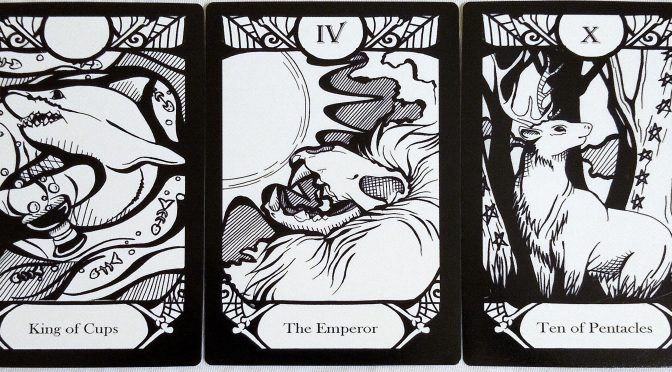Animalis Os Fortuna: King of Cups, The Emperor [IV], & Ten of Pentacles.