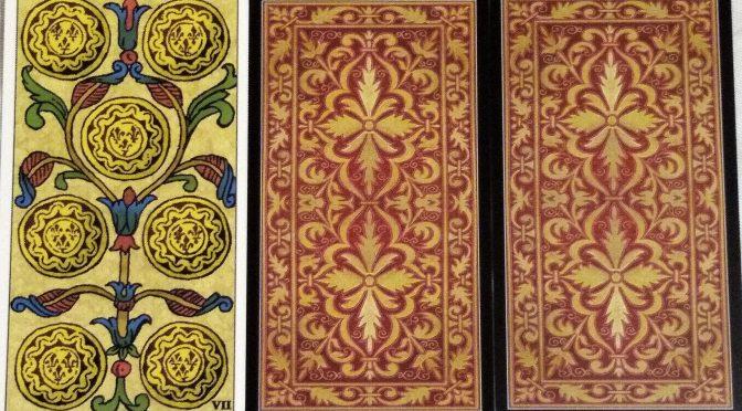 Universal Tarot of Marseille: 7 Deniers, [unknown], & [unknown].