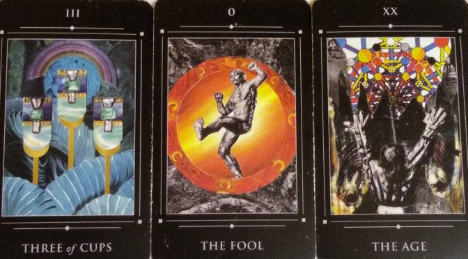 Red Magician: Three of Cups, The Fool [0], & The Age [XX].