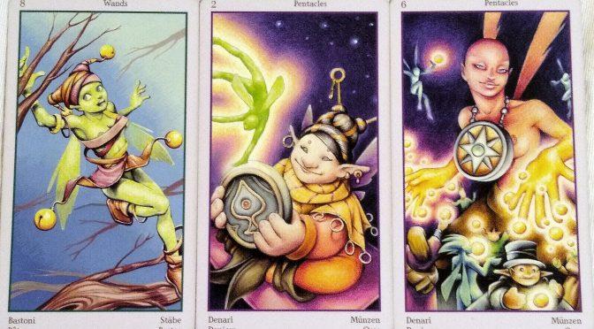 Fey Tarot: 8 of Wands, 2 of Pentacles, & 6 of Pentacles.