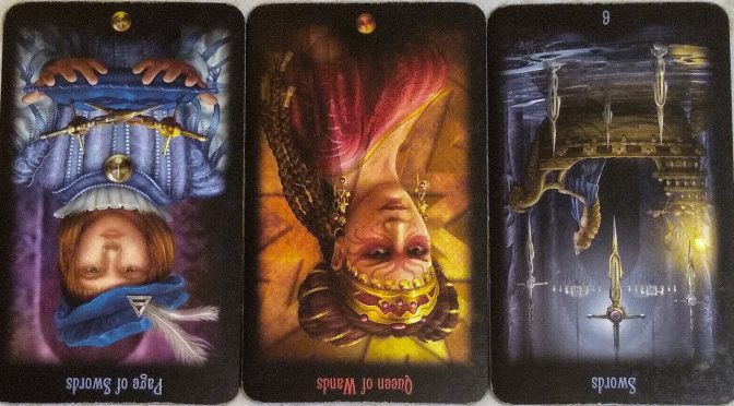 Legacy of the Divine: Page of Swords (reversed), Queen of Wands (reversed), & 6 of Swords (reversed).