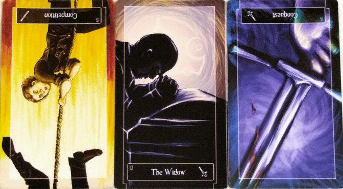 Sweeney Tarot: 5 of Wands (reversed), Queen of Swords, & Ace of Swords (reversed).
