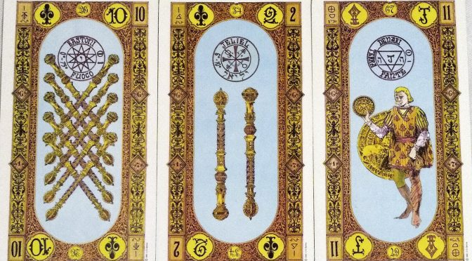 Stairs of Gold: 10 of Staves, 2 of Staves, & Page of Coins.