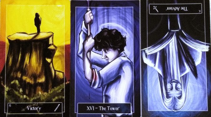 Sweeney Tarot: 6 of Wands, The Tower [XVI], & King of Swords (reversed).
