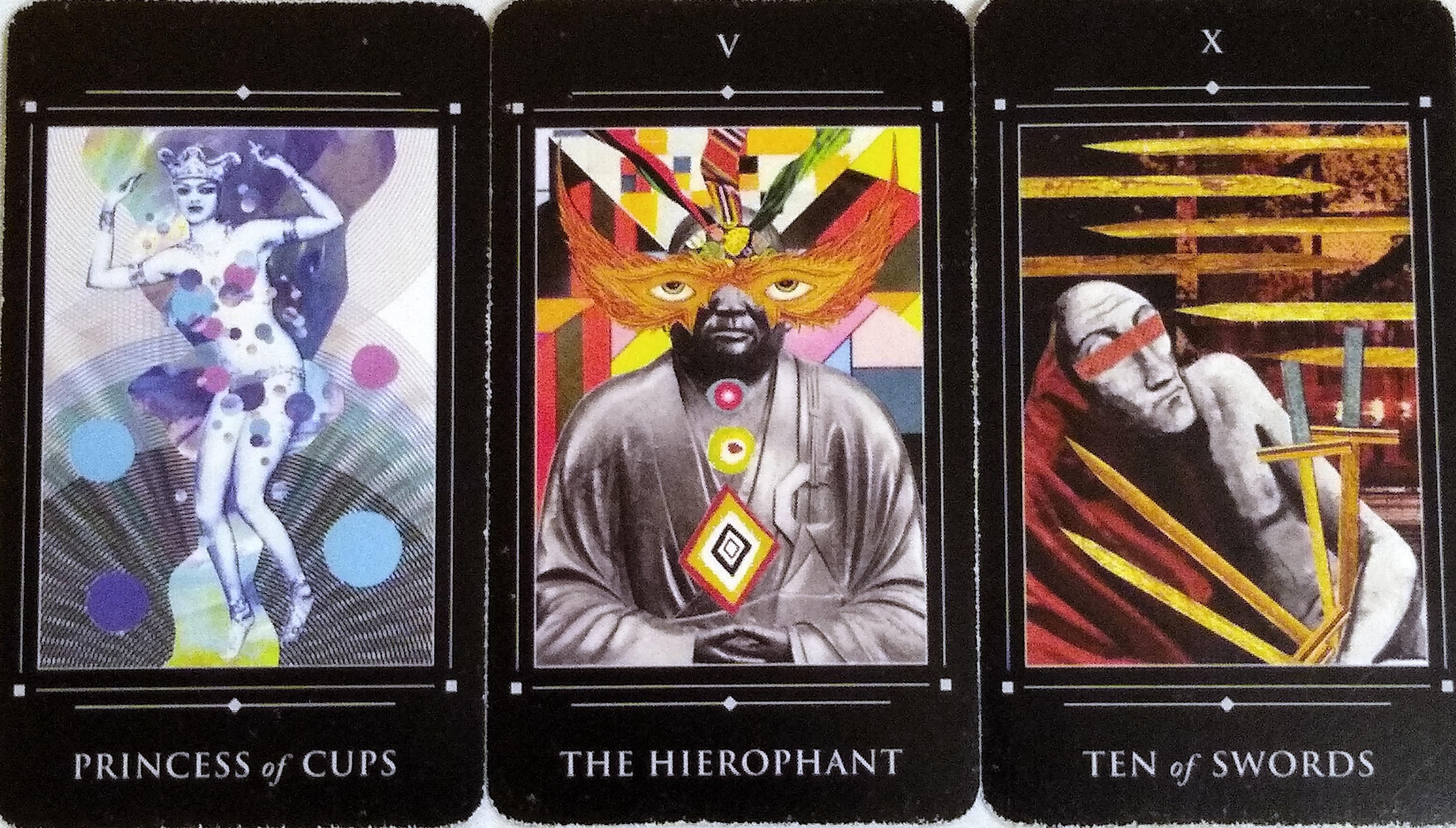 Red Magician: Princess of Cups, The Hierophant, & Ten of Swords.