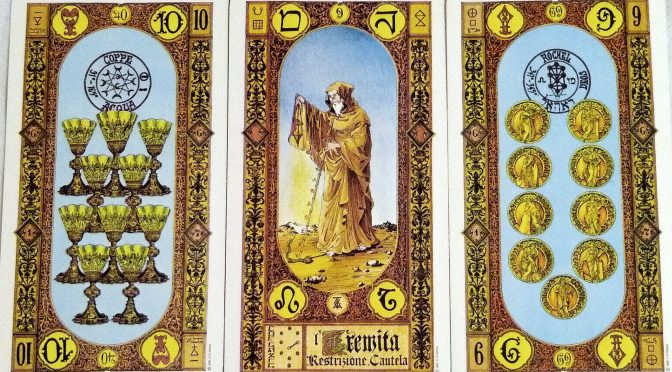Stairs of Gold: 10 of Cups, The Hermit [IX], & 9 of Coins.