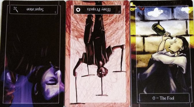 Sweeney Tarot: 3 of Swords (reversed), 2 of Coins (reversed), & The Fool [0].