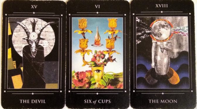 The Red Magician: The Devil [XV], Six of Cups [VI], & The Moon [XVIII].