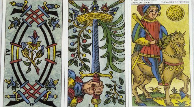 Universal Tarot of Marseille: 4 Swords, Ace of Swords, & Knight of Pentacles.