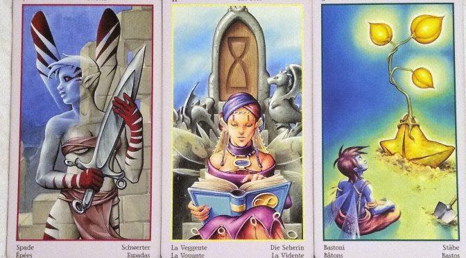 Fey Tarot: 7 of Swords, The Seer [II], & 3 of Wands.