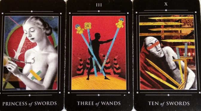Red Magician: Princess of Swords, Three of Wands, & Ten of Swords.