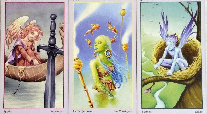 Fey Tarot: 6 of Swords, Temperance [XIV], & 2 of Wands.