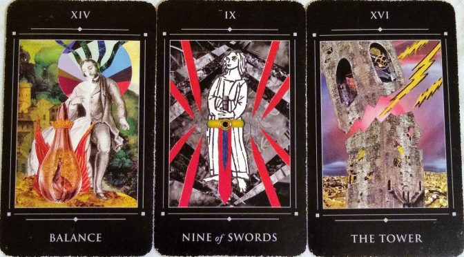 Red Magician: Balance [XIV], Nine of Swords, & The Tower [XVI].