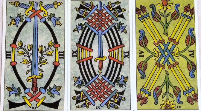Universal Tarot of Marseille: 3 Swords, 9 Swords, & 4 Batons.