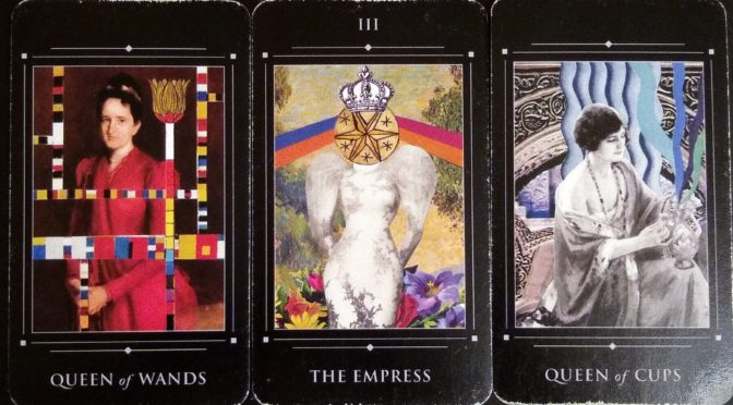 Red Magician: Queen of Wands, The Empress [III], & Queen of Cups.
