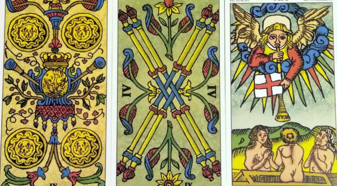 Universal Tarot of Marseille: 4 Deniers, 4 Batons, & Judgement [XX]