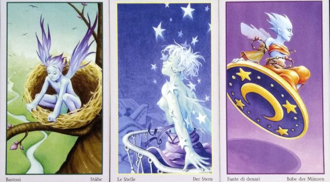 Fey Tarot: 2 of Wands, The Star [XVII], & Knave of Pentacles