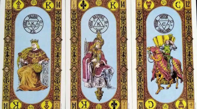 Stairs of Gold: King of Coins, King of Staves, & Knight of Cups.