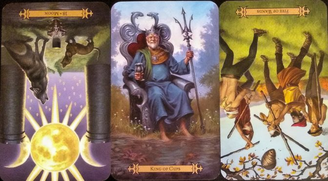 Modern Spellcaster's Tarot: Moon [XVIII] (reversed), King of Cups, & Five of Wands (reversed).