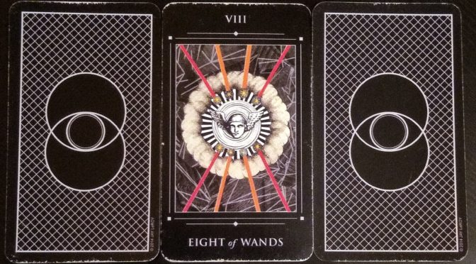 Red Magician Tarot: Eight of Wands.