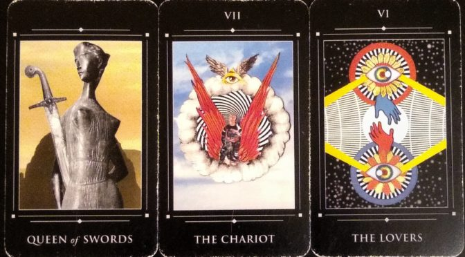 Red Magician: Queen of Swords, The Chariot [VII], & The Lovers [VI].