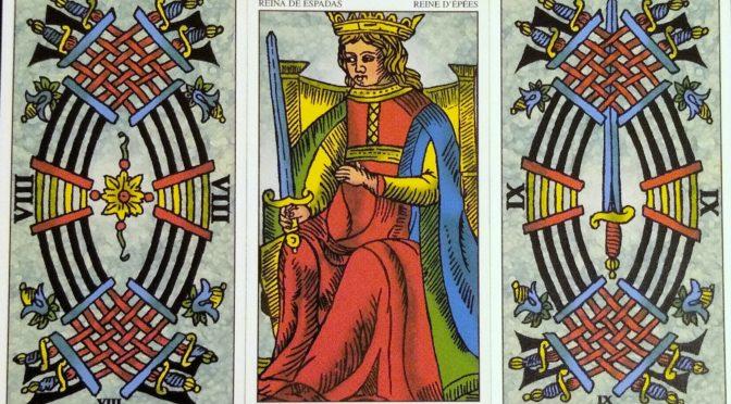 Universal Tarot of Marseille: 8 of Swords, Queen of Swords, & 9 of Swords.