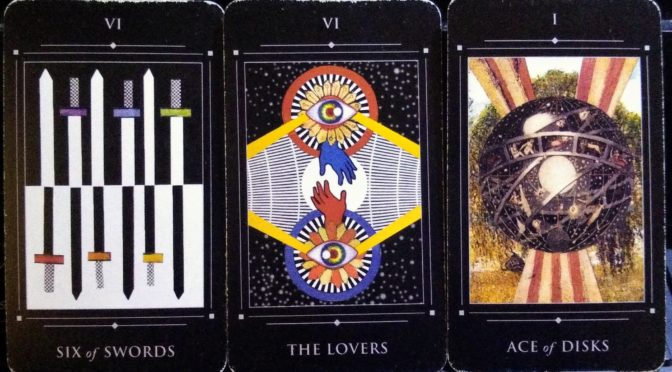 Red Magician Tarot: Six of Swords, The Lovers, & Ace of Disks.