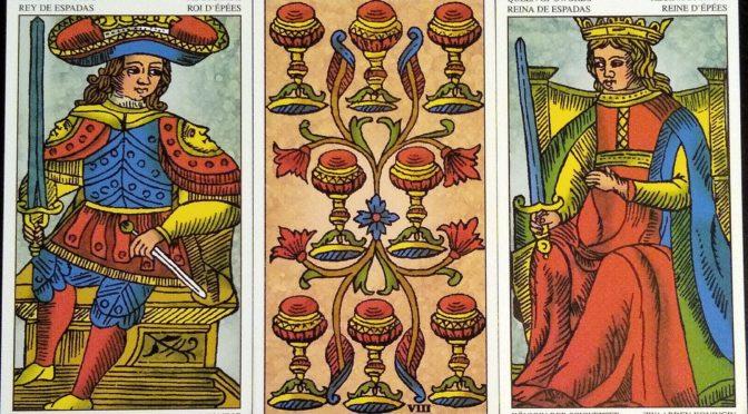 Universal Tarot of Marseille: King of Swords, 8 of Cups, & Queen of Swords.