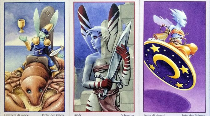 Fey Tarot: Knight of Chalices, 7 of Swords, & Knave of Pentacles.