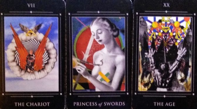 The Red Magician Tarot: The Chariot [VII], Princess of Swords, & The Age [XX].