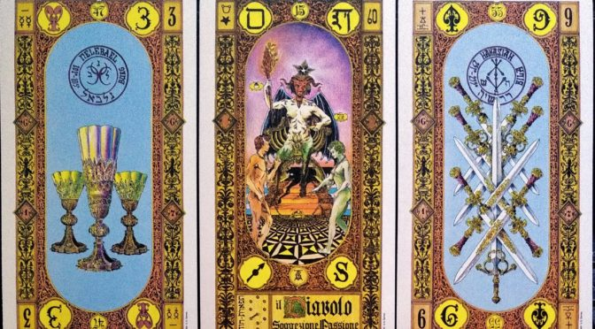 Stairs of Gold: 3 of Cups, The Devil [XV], & 9 of Swords.