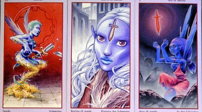 Fey Tarot: 10 of Swords, Queen of Swords, & Ace of Swords.