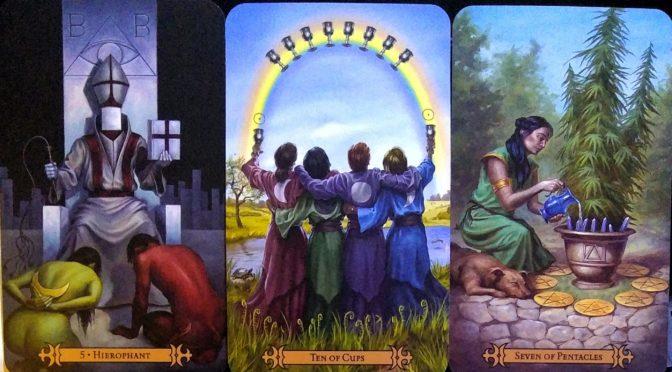 Modern Spellcaster's Tarot: Hierophant [V], Ten of Cups, & Seven of Pentacles.