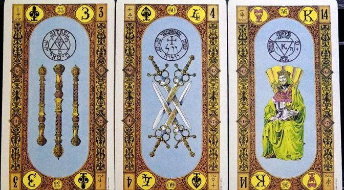 Stairs of Gold: 3 of Staves, 4 of Swords, & King of Cups.
