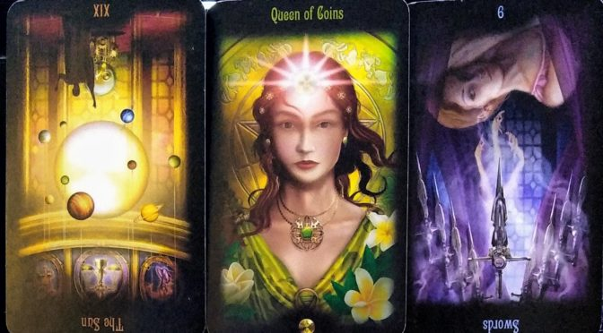 Legacy of the Divine: The Sun [XIX] (reversed), Queen of Coins, & 9 of Swords (reversed).