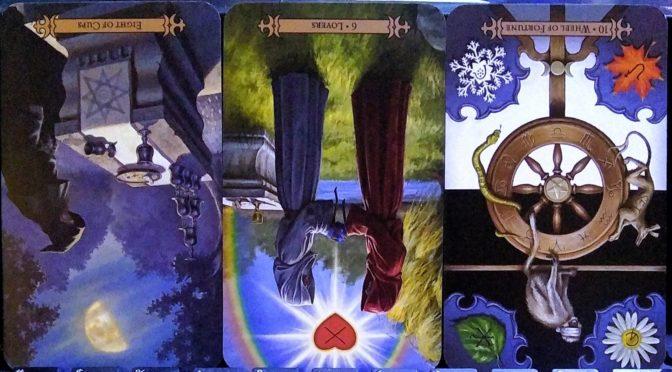 Modern Spellcaster's Tarot: Eight of Coins (reversed), Lovers [VI] (reversed), & Wheel of Fortune [X] (reversed).