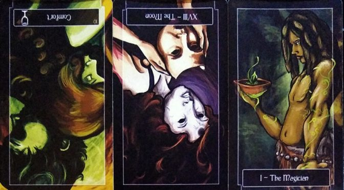 Sweeney Tarot: 10 of Cups (reversed), The Moon [XVIII] (reversed), & The Magician [I].