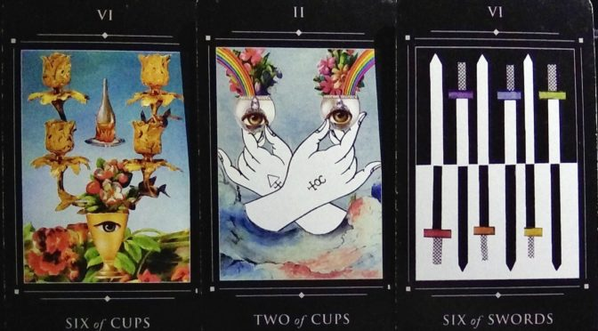 Red Magician: Six of Cups, Two of Cups, & Six of Swords.