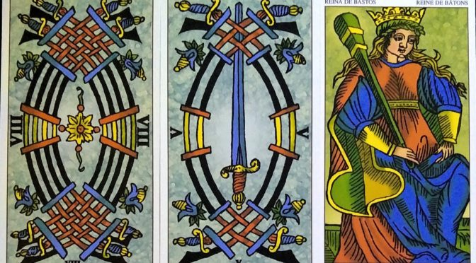 Universal Tarot of Marseille: 8 of Swords, 5 of Swords, & Queen of Batons.