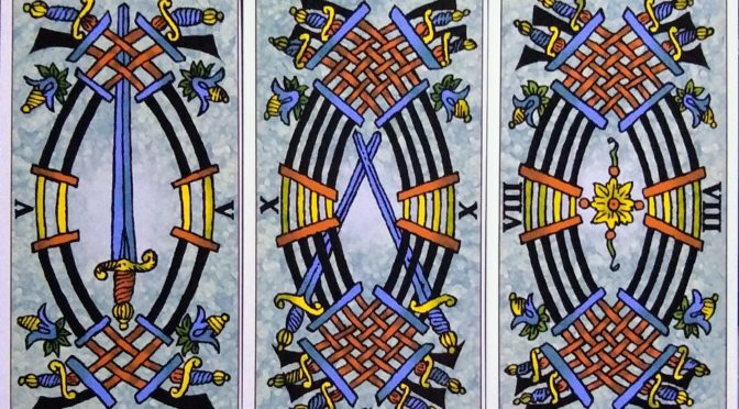 Universal Tarot of Marseille: 5 of Swords, 10 of Swords, & 8 of Swords.