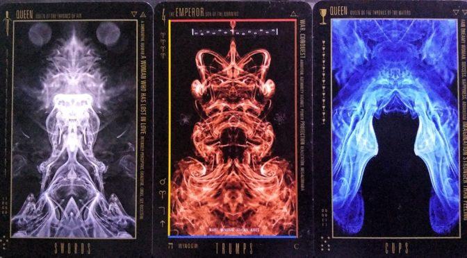 Wyzard of Odd: Queen of Swords, The Emperor [IV], & Queen of Cups.