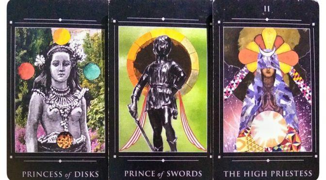 Red Magician Tarot: Princess of Disks, Prince of Swords, & The High Priestess [II].
