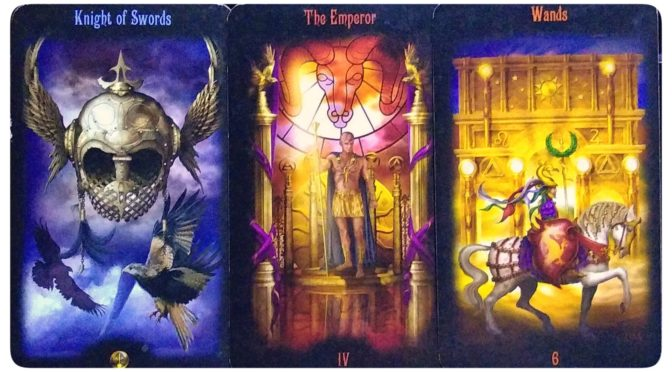 Legacy of the Divine: Knight of Swords, The Emperor, & 6 of Wands.