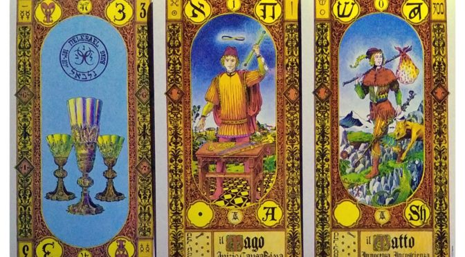 Stairs of Gold: 3 of Cups, The Magician [I], & The Fool [0].