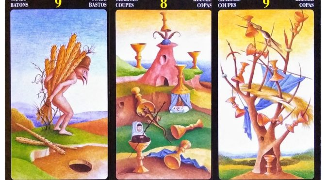 Bosch Tarot: 9 of Wands, 8 of Chalices, & 9 of Chalices.