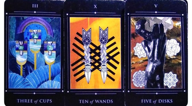 Red Magician Tarot: Three of Cups, Ten of Wands, & Five of Disks.